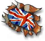 Ripped Torn Metal Rusty Design With UK British Flag Motif External Vinyl Car Sticker 105x130mm